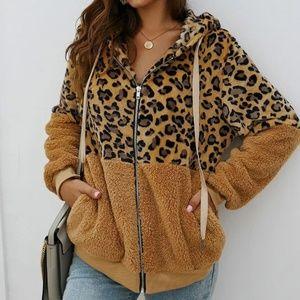 NEW Zip Up  Leopard Print Teddy Hooded Jacket